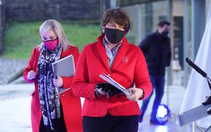 First Minister Arlene Foster and deputy First Minister Michelle O'Neill pictured at the Executive news conference.