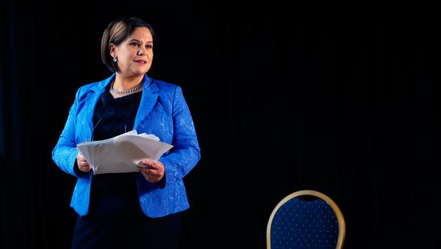 Sinn Fein President Mary Lou McDonald ahead of delivering her keynote speech during her party's ard fheis