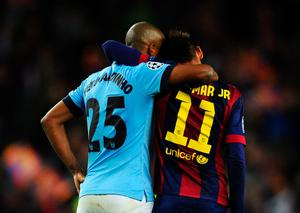 BARCELONA, SPAIN - MARCH 18: Neymar of Barcelona consoles Fernandinho of Manchester City after the UEFA Champions League Round of 16 second leg match between Barcelona and Manchester City at Camp Nou on March 18, 2015 in Barcelona, Spain.  (Photo by David Ramos/Getty Images)