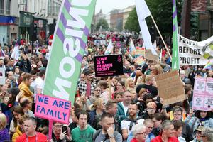 Press Eye - Belfast - Northern Ireland - 1st July 2017 -   March for Civil Marriage Equality in Belfast City Centre   Campaigners are calling for a law change to bring the region into line with the rest of the UK and Ireland. The march is being organised by the Love Equality campaign, led by the Rainbow Project, Amnesty International, Irish Congress of Trade Unions, Cara-Friend, NUS-USI and HereNI.  Lord Mayor of Belfast Councillor Nuala McAllister takes part in the march for civil marriage equality in Belfast  Marchers take part in the march for civil marriage equality in Belfast  Coleraine-born actress Bronagh Waugh (The Fall, Hollyoaks) takes part in the march for civil marriage equality in Belfast    Photo by Kelvin Boyes / Press Eye.
