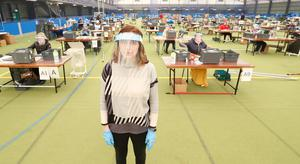 Colette Wilson from Bloc Blinds helping drive the effort to make PPE at Magherafelt Sport complex. Picture Colm O'Reilly Sunday Life 07-04-2020