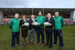World party: Stuart Olding, First Minister Arlene Foster, Brian O'Driscoll RWC 2023 Bid Ambassador, Iain Henderson, Deputy First Minister Martin McGuinness and Tommy Bowe at the Kingspan Stadium