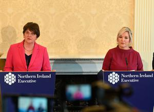 First Minister Arlene Foster and deputy First Minister Michelle O'Neill. Pic COLM LENAGHAN/PACEMAKER PRESS/PA Wire