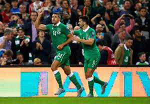 DUBLIN, IRELAND - SEPTEMBER 07:  Jonathan Walters of the Republic of Ireland (14) celebrates with Shane Long (9) as he scores their first goal during the UEFA EURO 2016 Group D qualifying match between Republic of Ireland and Georgia at Aviva Stadium on September 7, 2015 in Dublin, Ireland.  (Photo by Ian Walton/Getty Images)