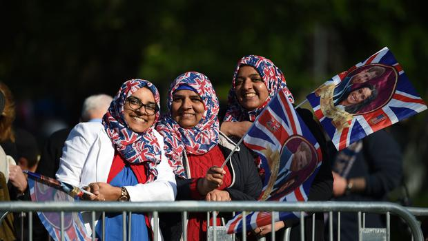 All together: Women sport Union flag hijabs to celebrate the day (Oli Scarff/PA)