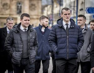 David Healy and Oran Kearney as the funeral of Harry Gregg takes place at St PatrickÕs Church in Coleraine on February 21st 2020 (Photo by Kevin Scott for Belfast Telegraph)