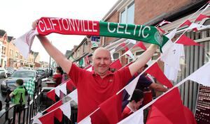 ?Press Eye Ltd Northern Ireland - 17th July 2013 Mandatory Credit - Picture by Darren Kidd /Presseye.com    Champions League, Cliftonville v Celtic.  Cliftonville v Celtic,  Champions League 2nd Qual, 1st Leg game at Solitude, Belfast. Fans ahead of the game.  Kevin Meighan
