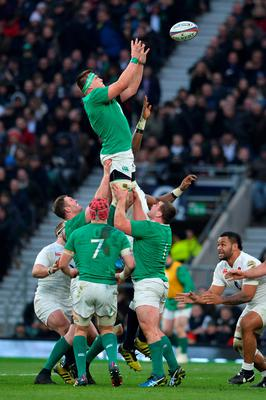 Ireland's flanker CJ Stander goes up for a lineout during the Six Nations international rugby union match between England and Ireland at Twickenham in south west London on February 27, 2016.   / AFP / GLYN KIRKGLYN KIRK/AFP/Getty Images