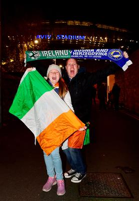 DUBLIN, IRELAND - NOVEMBER 16:  Republic of Ireland fans pose for pictures before the Euro 2016 play-off second leg match between the Republic of Ireland and Bosnia-Herzegovina at Aviva Stadium on November 16, 2015 in Dublin, Ireland.  (Photo by Charles McQuillan/Getty Images)