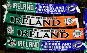 DUBLIN, IRELAND - NOVEMBER 16:  Scarves on sale by street sellers before the Euro 2016 play-off second leg match between the Republic of Ireland and Bosnia-Herzegovina at Aviva Stadium on November 16, 2015 in Dublin, Ireland.  (Photo by Charles McQuillan/Getty Images)