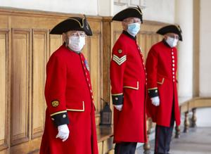 Chelsea Pensioners wore face masks during Camilla's visit (Steve Reigate/Daily Express/PA)