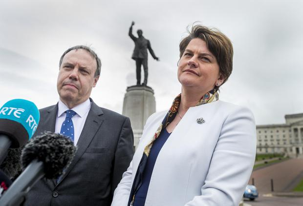 Pictured DUP Leader Arlene Foster addresses the media accompanied by party deputy Nigel Dodds Picture: Liam McBurney/RAZORPIX