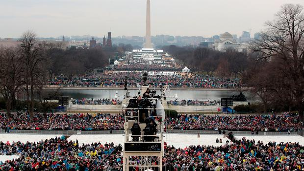 WASHINGTON, DC - JANUARY 20:  Spectaors begin to fiill  the National Mall l on January 19, 2017 in Washington, DC. Donald J. Trump will be sworn in tomorrow as the 45th president of the United States.  (Photo by Scott Olson/Getty Images)