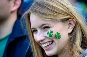 Rugby fans from around the world -  An Irish fan smiles before a Pool D match of the 2015 Rugby World Cup between Ireland and Italy at the Olympic Stadium, east London, on October 4, 2015.