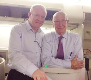 Martin McGuinness meets Bobby Charlton on his flight to Brazil.