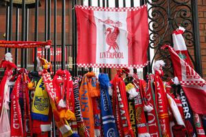 LIVERPOOL, ENGLAND - APRIL 13:  View of club scarves placed in memory of the victims of the Hillsborough disaster, on the 25th anniversary of the tragedy prior to the Barclays Premier League match between Liverpool and Manchester City at Anfield on April 13, 2014 in Liverpool, England.  (Photo by Alex Livesey/Getty Images)