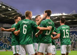 Pacemaker Press 07-09-2020:  UEFA Nations League 2021 Northern Ireland V Norway. UEFA Nations League match Northern Ireland's Paddy McNair pictured after scoring his teams 1st goal during tonights game at Windsor Park in Belfast Northern Ireland. Picture By: Arthur Allison/ Pacemaker Press