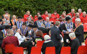 PACEMAKER BELFAST  13/07/2015:  Thousands of Orange Order members are taking part in parades across Northern Ireland. The parades mark the 325th anniversary of King William III's victory at the Battle of the Boyne in 1690.  Twelfth celebrations in Saintfield.  Photo Arthur Allison/Pacemaker Press