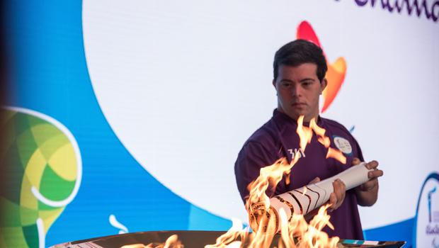 RIO DE JANEIRO, BRAZIL - SEPTEMBER 06: Breno Viola, brazilian judo athlete, lights up the flame at the Paralympic Flame Ceremony on September 5, 2016 in Rio de Janeiro, Brazil. (Photo by Raphael Dias/Getty Images for the International Paralympic Committee)