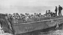 Heroes all: American troops on way to the Normandy beaches for D-Day landings in 1944