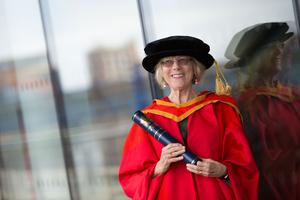 Leading human rights advocate, Sally O'Neill  received the honorary degree of Doctor of Laws (LLD) for her tireless work as an overseas development worker. (Photo: Nigel McDowell/Ulster University)