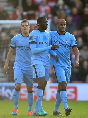 Manchester City's Yaya Toure celebrates scoring his sides first goal during the Barclays Premier League match at St Mary's Stadium, Southampton. Nick Potts/PA Wire.