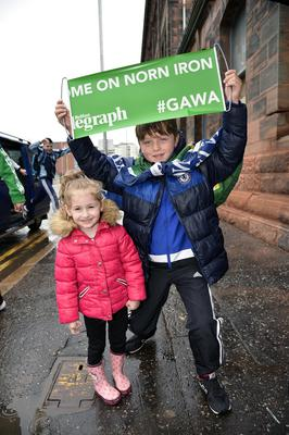 Presseye.com/Northern Ireland -16th June 2016 Photograph: Stephen Hamilton  Northern Ireland supporters pictured at the fan zone at Titanic in Belfast with Northern Ireland branded Belfast Telegraph supporters packs.    Amira and Roman Simpson