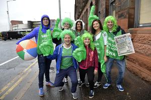 Presseye.com/Northern Ireland -16th June 2016 Photograph: Stephen Hamilton  Northern Ireland supporters pictured at the fan zone at Titanic in Belfast with Northern Ireland branded Belfast Telegraph supporters packs.