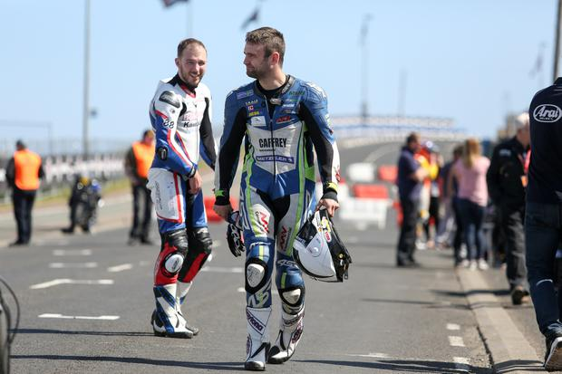 PressEye - Belfast - Northern Ireland - 9th May 2017  Vauxhall International North West 200 practice sessions.  Pictured: Paul Jordan and William Dunlop.  Picture: Philip Magowan / PressEye