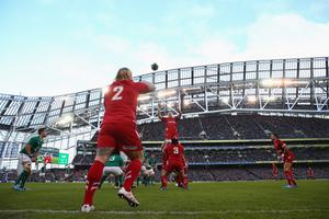 DUBLIN, IRELAND - FEBRUARY 08: Richard Hibbard (#2) of Wales throws to Andrew Coombs in the lineout during the RBS Six Nations match between Ireland and Wales at the Aviva Stadium on February 8, 2014 in Dublin, Ireland.  (Photo by Michael Steele/Getty Images)