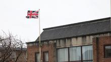 The Union flag flies over council offices in Newtownards to celebrate the 60th birthday of Prince Andrew.  Photo by Peter Morrison
