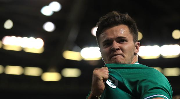 Jacob Stockdale, pictured, is hoping for more try celebrations like this in Ireland colours at the World Cup (Adam Davy/PA)
