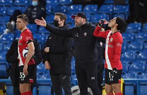 Southampton manager Ralph Hasenhuttl looking animated on the touchline during the game (Laurence Griffiths/PA)