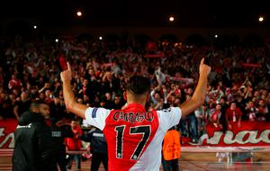 MONACO - MARCH 17:  Yannick Ferreira Carrasco of Monaco celebrates qualifying for the next round after the UEFA Champions League round of 16 second leg match between AS Monaco and Arsenal at Stade Louis II on March 17, 2015 in Monaco, Monaco.  (Photo by Michael Steele/Getty Images)
