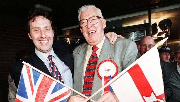 Ian Paisley with his late father. Credit: Stephen Davidson/Pacemaker Press