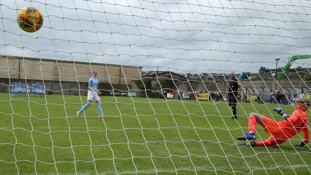 PressEye-Northern Ireland- 1st August 2019-Picture by Brian Little/PressEye Ballymena United Abi Sweetlove  scores a penalty past Dungannon United Youth goal keeper Harry Rainey  in  STATSports SuperCupNI  Semi Final , at Anderson Park, Coleraine . Picture by Brian Little/PressEye