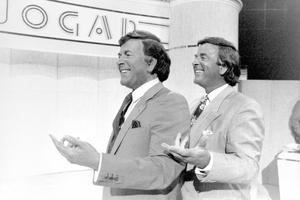 Sir Terry Wogan (right) revealing his waxwork on his television show 'Wogan'