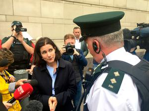 Dr Rebecca Gomperts discusses abortion pills with a PSNI inspector. PRESS ASSOCIATION Photo. Picture date: Thursday May 31, 2018. See PA story IRISH Abortion. Photo credit should read: David Young/PA Wire