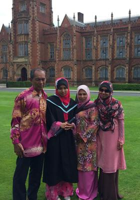 Nur Farahin Abdul Rahim, from Malaysia, is graduating today (Friday) from the School of Medicine, Dentistry and Biomedical Sciences at Queens University.  She begins work as a doctor in Hull Royal Infirmary after she graduates.She is pictured with her father Abdul, mother Nafisah, and sister Nur Fazdlin.