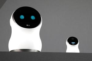 The LG Hub Robot & Mini are unveiled during an LG news conference before CES International, Wednesday, Jan. 4, 2017, in Las Vegas. (AP Photo/John Locher)