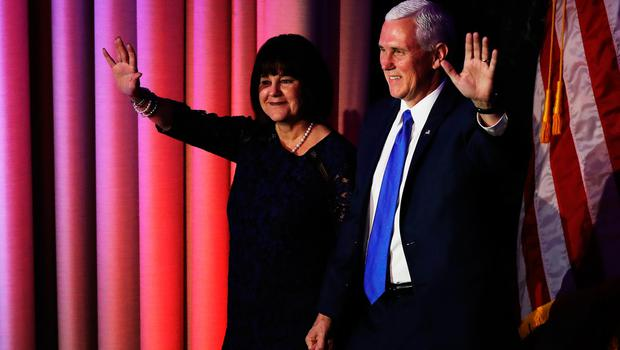 NEW YORK, NY - NOVEMBER 09:  Vice president-elect Mike Pence walks on stage with his wife Karen Pence at Republican president-elect Donald Trump election night event at the New York Hilton Midtown in the early morning hours of November 9, 2016 in New York City. Americans went to the polls yerterday to choose between Republican presidential nominee Donald Trump and Democratic presidential nominee Hillary Clinton as they go to the polls to vote for the next president of the United States.  (Photo by Joe Raedle/Getty Images)