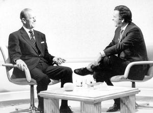 Duke of Edinburgh (left) appearing with Sir Terry Wogan on the 'Wogan' chatshow in 1986