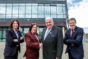 PKF-FPM took over Francis J Woods in Balbriggan earlier this year. From left, Teresa Campbell of PKF-FPM, Joe Woods from Francis J Woods, Feargal, and Michael Farrell, lead director for the new office