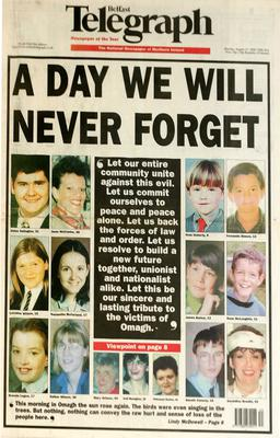 Belfast Telegraph:Page One/Omagh Bomb 17/8/1998