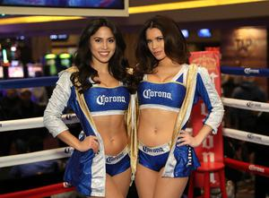Press Eye - Belfast -  Northern Ireland - 25th January 2017 - Photo by William Cherry  The Corona Girls pictured at the public training session at the MGM Grand Hotel and Casino, Las Vegas   Photo William Cherry/Presseye