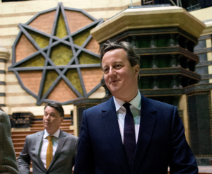 Prime Minister David Cameron during a visit to the Titanic Studios in Belfast, where they saw the film sets for the TV drama Game of Thrones. Photo: Stefan Rousseau