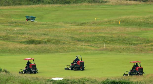 Preparations are made for the 148th Open at Royal Portrush, County Antrim Wednesday, July 10th, 2019. (Photo by Paul McErlane for the Belfast Telegraph)