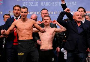 Scott Quigg and Carl Frampton during the weigh-in ahead of their World Super-Bantamweight unification fight, at Manchester Arena. PRESS ASSOCIATION Photo. Picture date: Friday February 26, 2016. Pic: Dave Thompson/PA Wire
