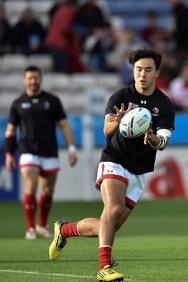 Canada's fly half Nathan Hirayama warms up for the Pool D match of the 2015 Rugby World Cup between Canada and Romania at Leicester City Stadium in Leicester, central England, on October 6, 2015.  AFP PHOTO / BERTRAND LANGLOIS  RESTRICTED TO EDITORIAL USE, NO USE IN LIVE MATCH TRACKING SERVICES, TO BE USED AS NON-SEQUENTIAL STILLSBERTRAND LANGLOIS/AFP/Getty Images