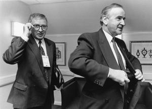 File Pics Albert Reynolds Has Died. Taoiseach and Fianna Fail leader Albert Reynolds with Government Press Officer Sean Duignan(L) about to go into talks during the Edinburgh EU Summit. 12/12/1992 Pic Photocall Ireland